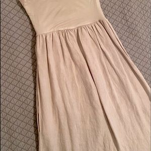 Jolie Linen Strapless Khaki Tan Maxi Dress